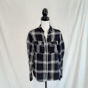 Maurice's Black And White Flannel Snap Front Top
